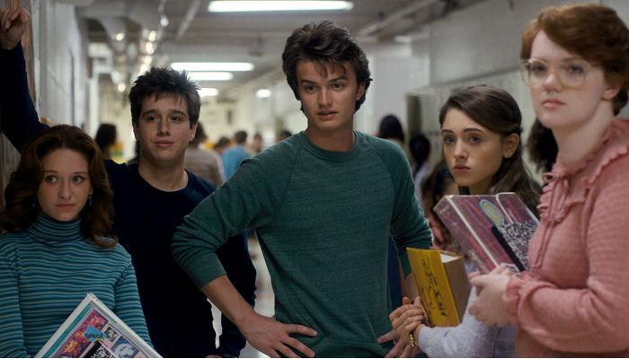 Grupo de amigos em Stranger Things.