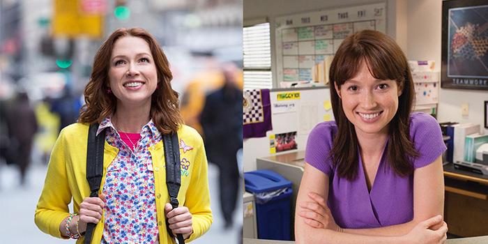 Ellie Kemper em Unbreakable Kimmy Schmidt (esq.) e The Office (dir.)