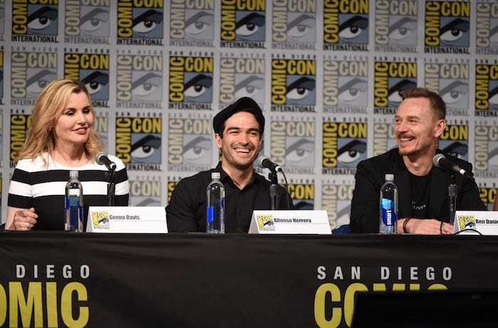 FOX FANFARE AT SAN DIEGO COMIC-CON © 2016: (L-R) THE EXORCIST Cast Members Geena Davis, Alfonso Herrera and Ben Daniels during THE EXORCIST panel on Friday, July 22 at the FOX FANFARE AT SAN DIEGO COMIC-CON © 2016. CR: Frank Micelotta/FOX © 2016 FOX BROADCASTING
