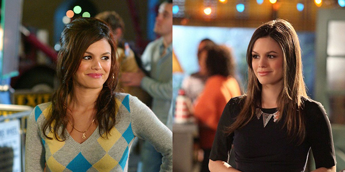 Rachel Bilson em The O.C. (esq.) e Hart of Dixie (dir.)
