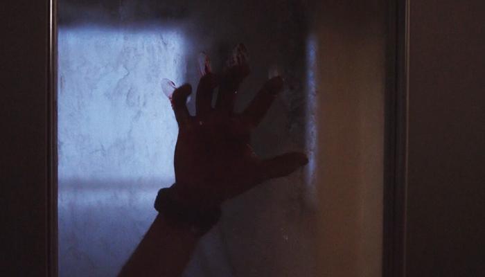Van Helsing 1x09 Axel mão ensanguentada na porta da quarentena